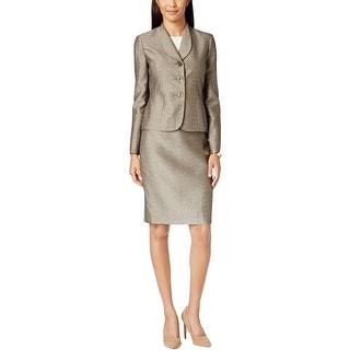 Le Suit Womens Petites Monte Carlo Skirt Suit Jacquard Metalllic