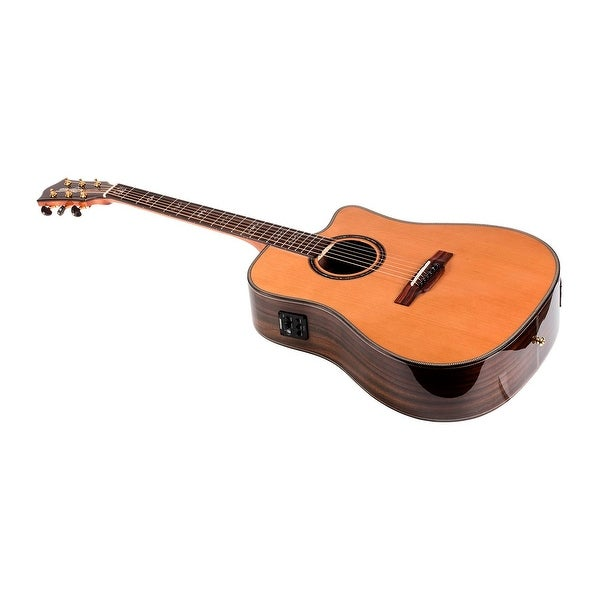 shop monoprice solid top acoustic electric guitar cedar with fishman pickup tuner and. Black Bedroom Furniture Sets. Home Design Ideas
