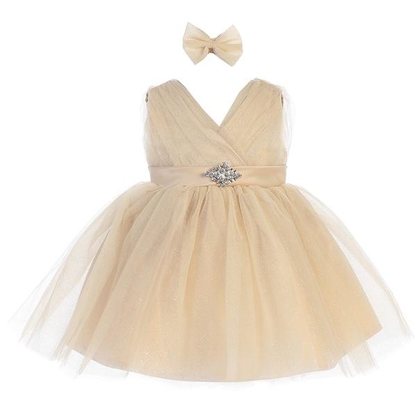 Baby Girls Gold Glitter Tulle V-Neck Rhinestone Brooch Flower Girl Dress