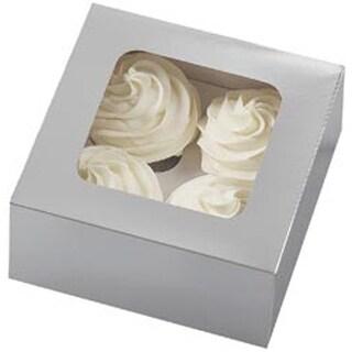 4 Cavity Silver 3/Pkg - Cupcake Boxes