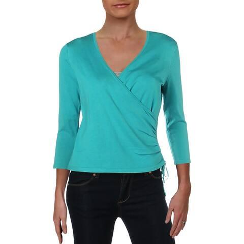 Lauren Ralph Lauren Womens Petites Pullover Sweater Ruffled Crewneck