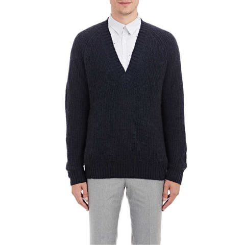PS By Paul Smith Mens Deep V-Neck Rib-Knit Sweater Small S Navy Blue Jumper