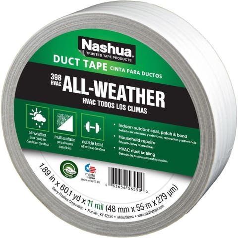 "Nashua 1207797 All-Weather HVAC Duct Tape, White, 11 Mil, 1.89"" x 60 Yd, #398"