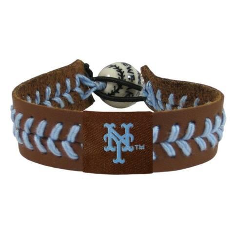 New York Mets Bracelet Team Color Baseball Brown Leather Powder Blue Thread