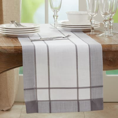 Long Table Runner With Banded Border Design