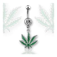 """Navel Belly Button Ring with 1-Gem and Green Potleaf - 14GA 3/8"""" Long"""