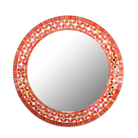 """Handmade Shimmering Blossoms Round Mosaic Multicolor Wall Mirror from India (India) - 11.25"""" Diam."""