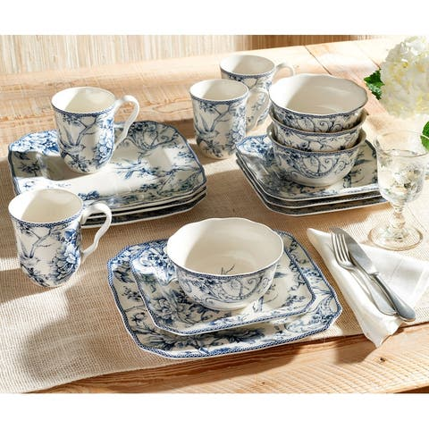 222 Fifth Adelaide 16-Piece Porcelain Dinnerware Set, Blue