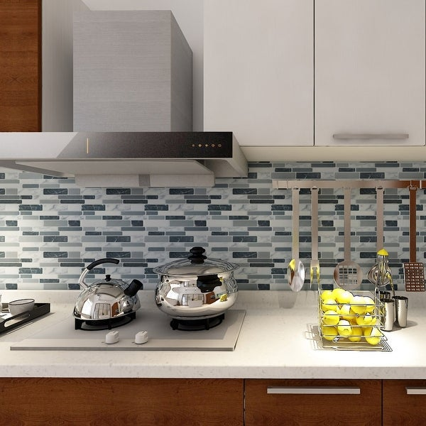 "Art3d 12""x12"" Vinyl Peel and Stick Backsplash Tile Marbel Grey. Opens flyout."