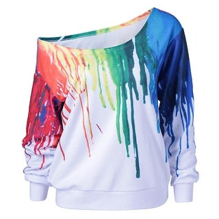 Paint Drip Skew Collar Sweatshirt White 3XL/4XL