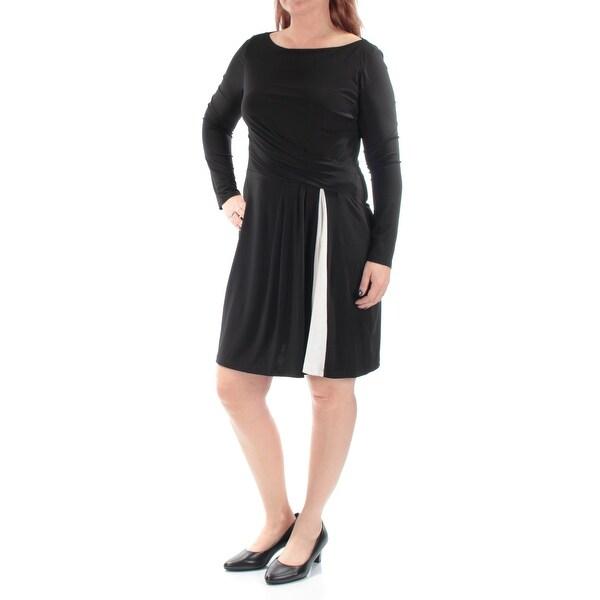 Shop Womens Black Long Sleeve Knee Length Shift Dress Size 14