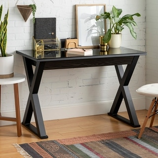 Link to 48-inch Black X-Frame Computer Desk with Glass Top Similar Items in Desks & Computer Tables