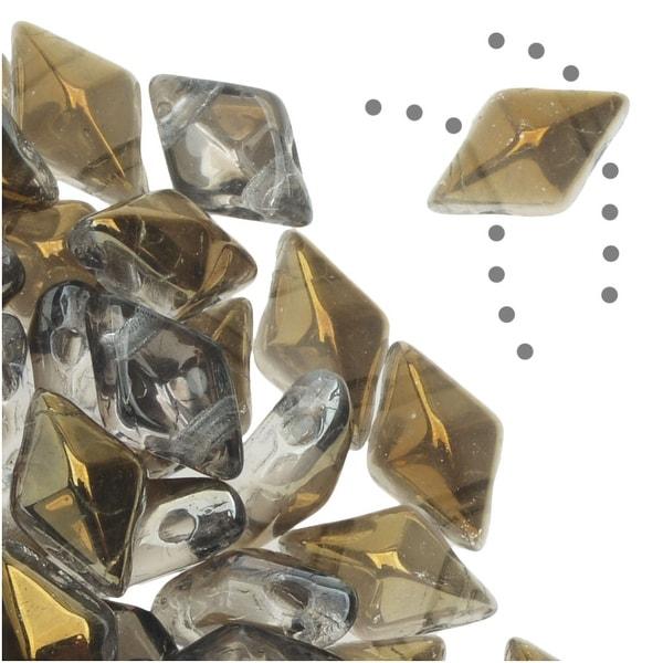 Czech Glass DiamonDuo, 2-Hole Diamond Shaped Beads 5x8mm, 12 Grams, Crystal Bronze Capri