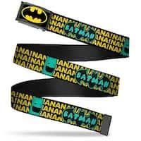 Batman Fcg Black Yellow Chrome Batman Face & Logo Sketch Nanana! Black Web Belt