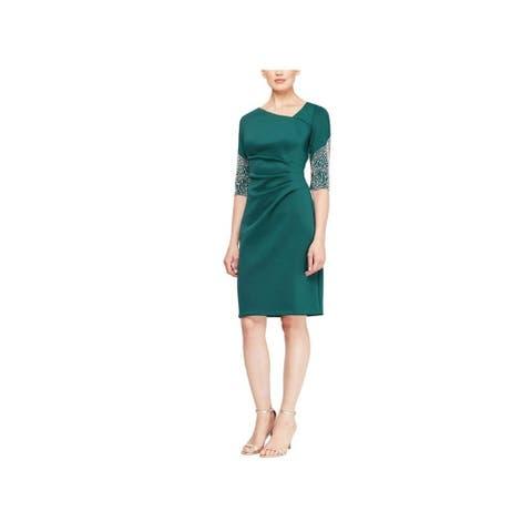 SLNY Green 3/4 Sleeve Above The Knee Dress 14