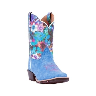 Laredo Western Boots Girls Floral Leather Square Rubber Blue LC2478