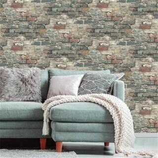 Brick Alley Peel & Stick Wallpaper, Blue
