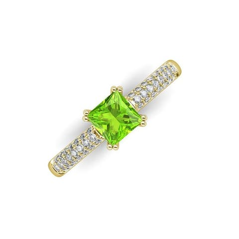 TriJewels Peridot Lab Grown Diamond 1.86 ctw Engagement Ring 14K Gold