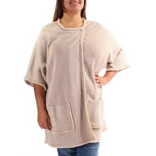 ST JOHN Womens New 8406 Beige Pocketed Jewel Neck 3/4 Sleeve Sweater XL B+B