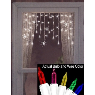 Set of 50 Twinkling & Shimmering Multi Window Curtain Icicle Lights - White Wire