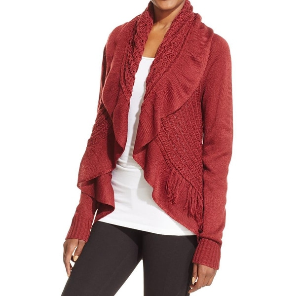 John Paul Richard Womens Cardigan Sweater Crochet Open Front