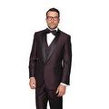 ENZO1 Men's 3pc SHARKSKIN PLUM Suit, Modern Fit, 1 Button, 2 Side Vent, Flat Front Pants - Thumbnail 0