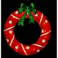 "18"" Lighted Sparkling Red Sisal Christmas Wreath Outdoor Decoration"