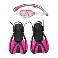 Snorkel Master Snorkeling Adult Mask, Snorkel, & Fins Set, Hot Pink