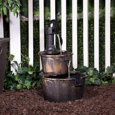 Alpine 27-Inch 2-Tier Barrel and Pump Waterfall Fountain, Bronze