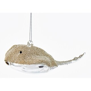 Silver and Gold Stingray Christmas Holiday Ornament Glass