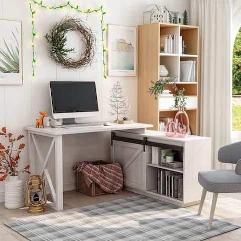 Furniture of America Brasnar Transitional 56-inch L-shape Desk