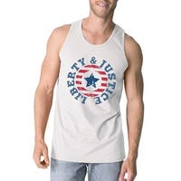 Liberty & Justice White Sleeveless Tee 4th Of July Tank Top For Men