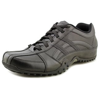 Skechers Rockland Systemic Men W Round Toe Leather Black Work Shoe
