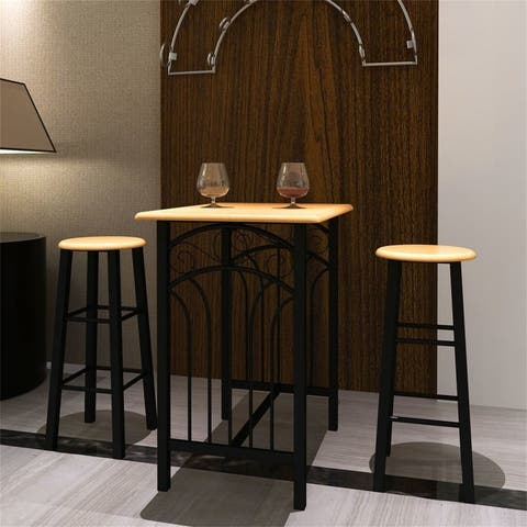 3-Piece Breakfast Kitchen Dining Table Set With 2 Bar Chair,Black