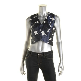 Lucy Paris Womens Partially Lined Brocade Crop Top
