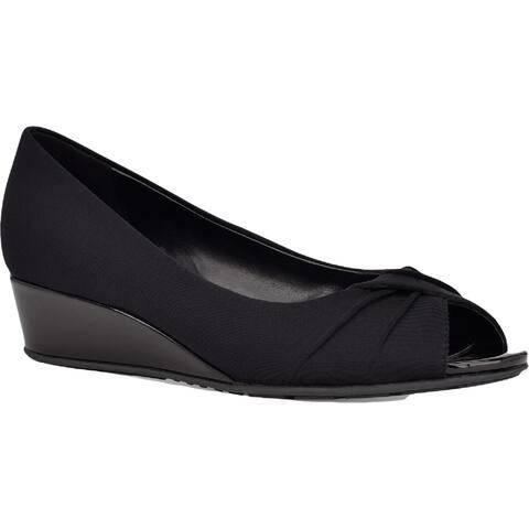 Bandolino Womens Caddia 2 Dress Heels Fabric Peep Toe - Black Fabric