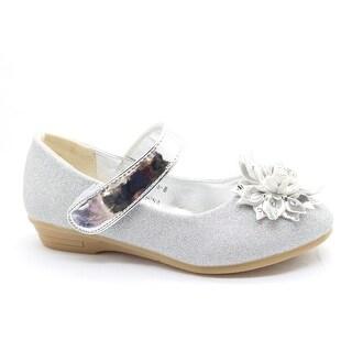 Little Girls Silver Flower Adorned Mary Jane Dress Shoes