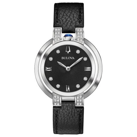 Bulova Women's 96R217 Rubaiyat Diamond Accent Black Leather Strap Watch - Silver-Tone