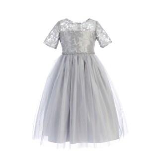 Sweet Kids Little Girls Gray Metallic Detail Mesh Tulle Christmas Dress