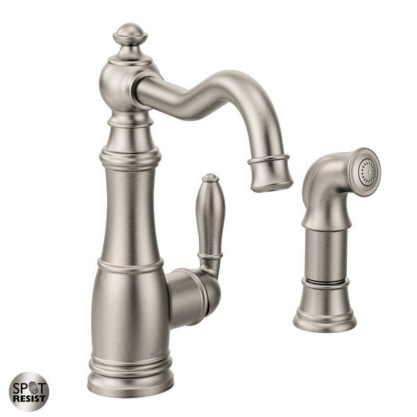 Moen S72101 Weymouth Low-Arc Kitchen Faucet with Side Spray. Opens flyout.