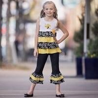 AnnLoren Little Girls Yellow Bumble Bee Tunic 2 Pc Capri Pants Outfit