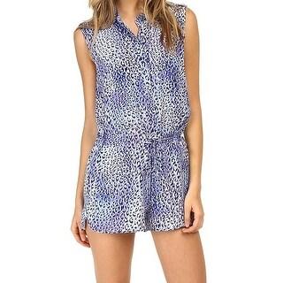 Rebecca Taylor NEW Blue Women's Size 0 Leopard Print Romper Silk