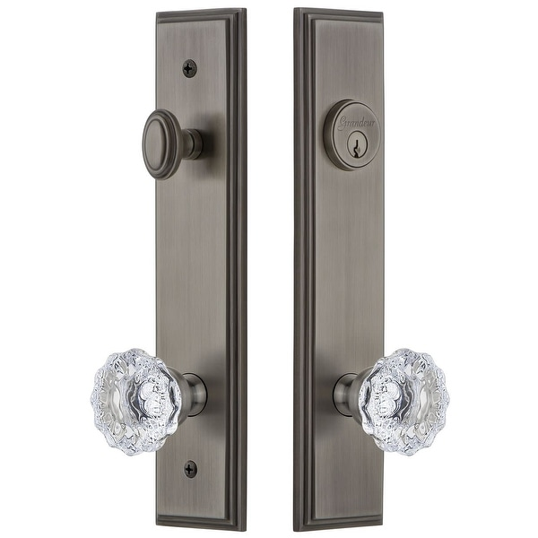 Grandeur CARFON_TP_ESET_234 Carre Solid Brass Tall Plate Single Cylinder Keyed Entry Set with Fontainebleau Crystal Knob and