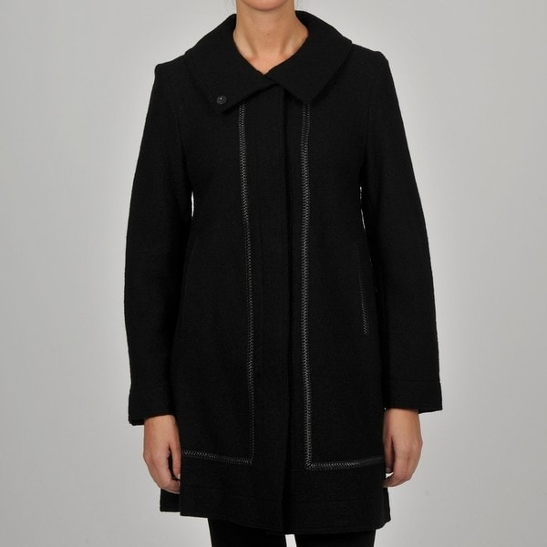 Hilary Radley Collection Women's Wool Walker w/ Faux Leather Trim
