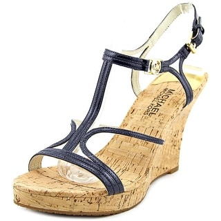 Michael Michael Kors Cicely Wedge Open Toe Patent Leather Wedge Heel