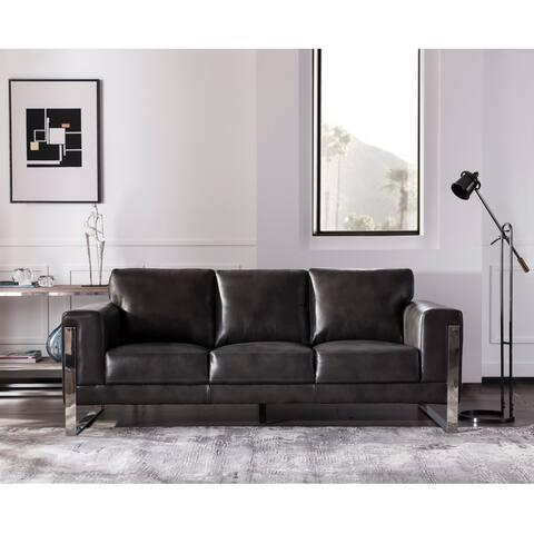"Strick & Bolton Norfolk Grey Leather Sofa - 89""W x 39""D x 36""H"