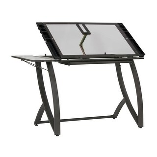 Offex Futura Luxe Drawing/Craft Table with Drawer and Folding Side Shelf in Pewter Grey/Clear Glass - N/A