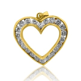 10K Yellow Gold Diamond Heart Pednant 0.60cttw 23mm Tall (i2/i3, i/j) By MidwestJewellery - White