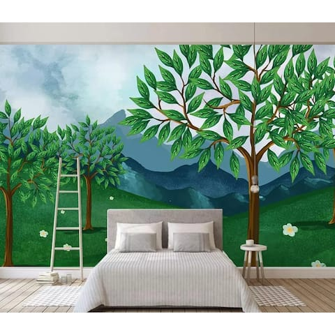 Kids Cartoon Forest Green Jungle Removable Textile Wallpaper