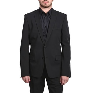 Versace Collection Men Solid Two-Piece Polyester Suit Black